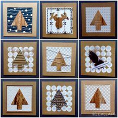 Kerstkaarten: kaarten gemaakt met o.a. stukjes behangpapier, slagerstouw, veren, verf, ponsstempel en/of houtdecoratie-band.