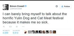 The media mogul tweeted his disgust at the festival in Yulin, southern China to his 12.1mi...