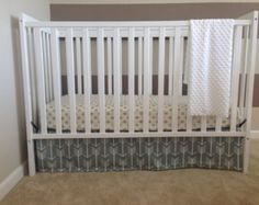 4-Sided Grey Arrows Crib Skirt by LullabiesLollipops on Etsy