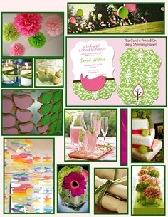 pink green baby shower - Google Search