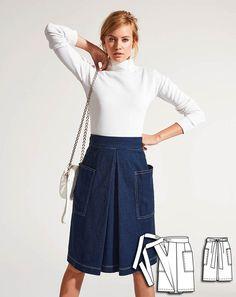 Box Pleat Patch Pocket Skirt 02/2015 #109B http://www.burdastyle.com/pattern_store/patterns/box-pleat-patch-pocket-skirt-022015?utm_source=burdastyle&utm_medium=blog&utm_campaign=bsmhbl012615denimdayscollection-109B
