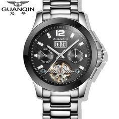 112.74$  Buy now - http://alicqn.shopchina.info/1/go.php?t=32632092303 - 2015 Fashion Design Watches Men Luxury Brand GUANQIN Men Wristwatches Tourbillon Mechanical Watch  #aliexpress