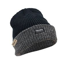 New Mens Thermal Thinsulate Fleece Lined Beanie Ski Hat Black 40Gram 3M