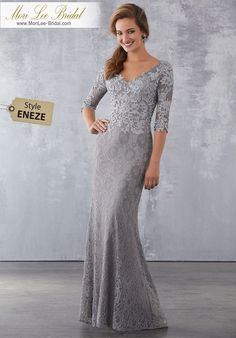 Style ENEZE Lace Special Occasion Dress with Beaded Lace Appliqués Beaded Venice Appliqués on Allover Lace. Colors Available: Silver, Navy