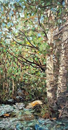 Aspen stream 36 x 20 mosaic by debra d souza Mosaic Artwork, Mosaic Wall, Mosaic Glass, Mosaic Tiles, Mosaics, Mosaic Mirrors, Mosaic Crafts, Mosaic Projects, Landscape Quilts