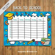 Nice weekly calendar with yellow graduation cap Free Vector