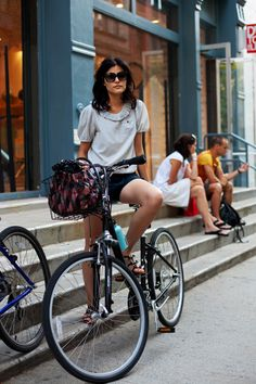 Bring it. Baby-doll sleeves and short shorts for summer in the city.