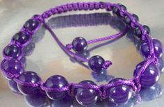 Purple Amethyst Beads set in a Purple Cord Macrame Bracelet ~ #Purple #Amethyst #Beads #Macrame #Bracelet