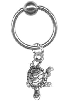 Tiny Sterling Silver Turtle Captive Ring at BodySparkle.com