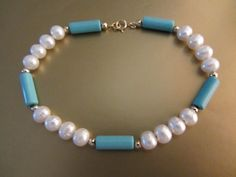 14k Solid Gold  AA Sleeping Beauty Turquoise White by GoldnBeads