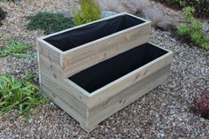 Large Wooden Garden Step Planter Trough Two Tier Veg Bed FREE LINING & FREE GIFT in Garden & Patio, Plant Care, Soil & Accessories, Baskets, Pots & Window Boxes | eBay