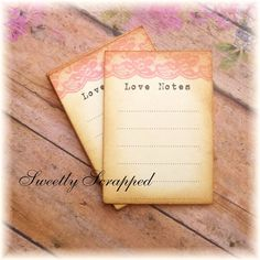 Love Notes Cards .... Pink Lace Vintage by SweetlyScrappedArt