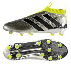 The Original Adidas laceless shoe, the #ACE16+ PureControl recieves its newest colorway. The Silver and Volt Yellow colors are not the only things that make this boot stand out however, the laceless design gives its wearer 360 degree control of the ball. Make from the knitted upper, it brings the foot and the ball close for a unique feel. With no laces to get in the way, these boots are the future. Shop today at www.soccercorner.com