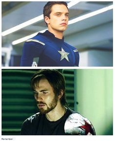 Role reversal of Steve Rodgers and Bucky Barnes. Screen shot from: http://starkiest.tumblr.com/post/79431897703/remember