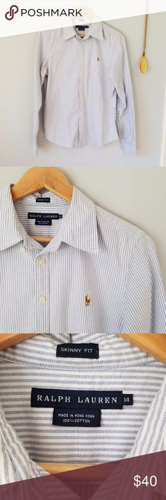 """Ralph Lauren Button Down White/Blue Striped Shirt Ralph Lauren Button Down White & Blue Stripped Shirt//Bust: 20.5"""", Sleeve: 25.5"""", Length: 26""""//Materials: 100%//Size: US Women's 14//Skinny Fit//There is a name written on the inside hem, see pictures, but you cannot see it when wearing, I think it adds to the charm Ralph Lauren Tops Button Down Shirts"""
