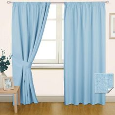Thermal Blackout Pencil Pleat Curtain Pair Blue