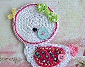 Crochet little duck appliqué - pattern DIY