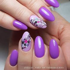 Nail art Christmas - the festive spirit on the nails. Over 70 creative ideas and tutorials - My Nails Purple Nail Art, Purple Nail Designs, Pretty Nail Art, Beautiful Nail Art, Nail Art Designs, Spring Nail Art, Spring Nails, Summer Nails, Round Nails