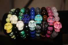day of the dead semi-precious gemstone beaded with howlite gemstone skulls in every color of the rainbow.