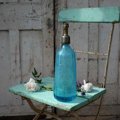 Vintage French Blue Soda Syphon by Restored2bloved on Etsy