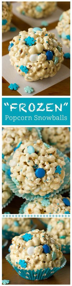 "Do your kids love everything Frozen? If so, throw on the movie and enjoy these delicious ""Frozen"" themed popcorn snowballs. Christmas Snacks, Holiday Treats, Christmas Cookies, Holiday Recipes, Disney Christmas, Winter Treats, Winter Food, Holiday Parties, Christmas Popcorn"