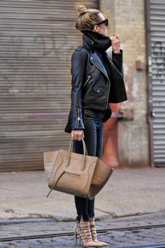 Black & Neutral  Leather Jacket by  @houseofmackage , Jeans by Rag and Bone , Sweater by Bananna Republic , Bag by Celine, Heels by Aquazzura  Fashion Look by Brooklyn Blonde Source: ecstasymodels