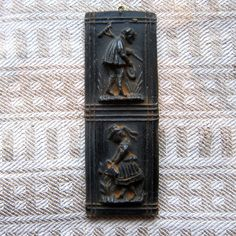 GARDENING COUPLE Cast Black BEESWAX Primitive Very by MagpieJane, $5.00