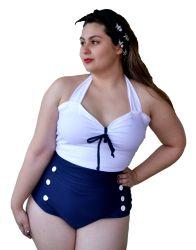 MAIÔ ANOS 60 PIN UP SAILOR MARINHEIRO(A) BUTTONS S.S. COLEÇÃO EXCLUSIVA SURPREENDA STORE / A SUA LOJA RETRÔ ONLINE. #RETRO #VINTAGE #PINUP #swimsuitretro #pinupswimsuit #swimsuit #polkadots #poa #loveretro #hollywood #diva #navy #sailor #hellosailor #50s #marinheiro #nautico