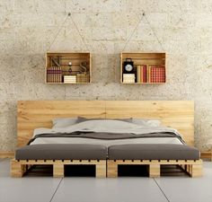 This pallet bed frame is really something unique and modern in its style and shape --- 45 Easiest DIY Projects with Wood Pallets Wooden Pallet Beds, Diy Pallet Bed, Pallet Furniture, Pallet Ideas, Pallet Headboards, Pallet Projects, Diy Projects, Pallet Sofa, Diy Bed