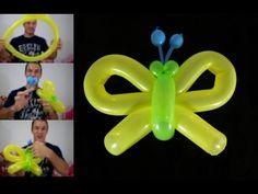 como hacer una mariposa con globos paso a paso- globoflexia facil - mariposa facil - YouTube