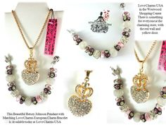 This beautiful Betsey Johnson Large Rhinestone Heart Pendant with Crown comes with a matching custom made Love Charms USA European Charm Bracelet. The bracelet is white leather barrel clasp LOVE bracelet and has multiple single core Murano glass beads in different colors along with silver mesh beads and also large rhinestone encrusted silver beads. Available at Love Charms USA 910-808-WISH