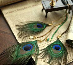 aretes con plumas de pavo real - Buscar con Google