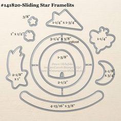 Sliding Star Framelits Dies sizes shared by Dawn Olchefske #dostamping #stampinup