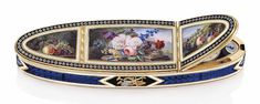 A Swiss enamelled gold snuff-box set with a watch compartment. Geneva, circa 1810. Estimate: £20,000-30,000. . This piece is offered in Centuries of Style: Silver, European Ceramics, Portrait Miniatures and Gold Boxes, 1-2 December at Christie's in London