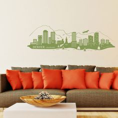 Style and Apply Denver Skyline Wall Decal Color: Gentian
