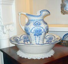 blue & white pitcher & bowl set