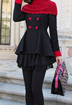 Double Breasted Red Black Worsted High-low Coat with Knit Pullover Scarf