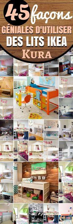 Dans cet article, vous trouverez une liste d'idées de chambre pour enfants (cabane, château...) Vous ne les connaissez peut-être pas , mais IKEA a conçu une gamme de lits particulièrement pratiques. Il s'agit des lits IKEA Kura. Ce sont des lits réversibles. Le concept est très simple. La plupart sont des lits superposés qu'il est possible de transformer en d'autres types de meubles. L'avantage saute aux yeux dans les espaces confinés... #ikea #chambre #chambreenfant #idéesdeco #deco