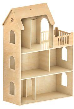 Большой кукольный домик с балконом.    Размеры домика: 1300х880х370 (мм)  Деревянный дом для игрушек. Домик сделан из экологически чистого материала - дерева (фанеры). По своим размерам домик достаточно большой, что очень нравится детям.  Домик очень легко собирается (есть инструкция)  Это большой трёхэтажный домик для кукол. Тут есть окна, комнаты, огромный чердак с окошками в крыше.  Деревянный кукольный домик приглашает детей в удивительный мир игр, развивая в них фантазию ч...