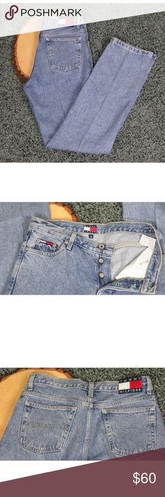"""Vintage High Waist Logo Mom Jeans Vintage Tommy Hilfiger Straight Leg High Waist Mom Jeans Retro 1980's 1990's Denim Jeans Vtg.  Button Fly Flag Logo on Waist Band and Pocket  These are in great condition with no rips or stains.  Size 5 Inseam 31 Rise 11"""" Waist 32"""" Waist to Hem 40"""" Tommy Hilfiger Jeans Straight Leg"""