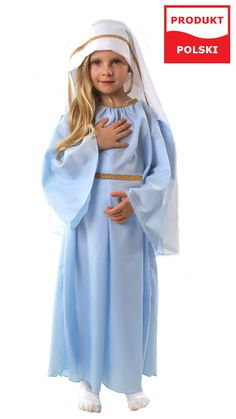 Strój Maryi, to gotowe przebranie dla dziewczynki na przedstawienie jasełkowe.