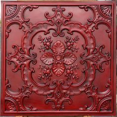 Vitromosaico Ideas, Faux Tin Ceiling Tiles, Red Tiles, Decorative Wall Panels, Rustic Walls, Reno, Background For Photography, Ceiling Design, Ceiling Decor