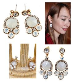 """Lovely milky crystal golden rim earrings"" by oceanfashion on Polyvore"