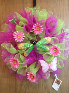 Spring Mesh Wreath with Dragonfly Center