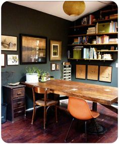 Towers Room – Wall color is 'Deep River' by BM, – Chic Home Office Design Dark Green Walls, Dark Walls, Grey Walls, Home Office Organization, Office Decor, Organizing Ideas, Office Ideas, Office Workspace, Office Wall Colors