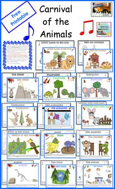 This post has a free printable for The Carnival of the Animals, a 33 page printable. Click on these words or the photo below to download your copy.    Wise Owl Factory and Strings, Keys, and Melodies have teamed up again to bring you printables to