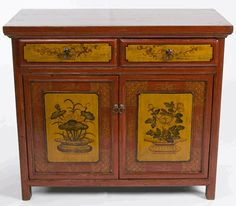 Antique Asian Furniture: Painted Buffet Cabinet from Qinghai Province, China