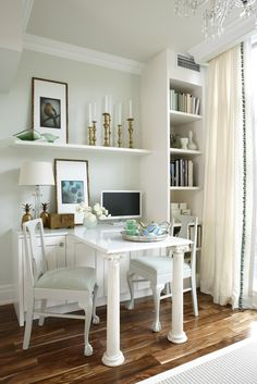 Desk built in into small cabinet i.e. same countertop - One of many nice spaces designed by Sarah Richardson - House of Turquoise
