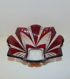 Mikasa Cranberry Crystal Serving Bowl Red Flash Flared Rim Paneled 4 Pointed T52 #Mikasa