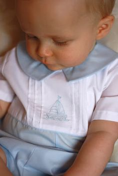 Diy Crafts - Creations by Michie' 134 Baby Romper with Yoke Sizes: Baby Boy Romper, Baby Dress, Baby Rompers, Couture Bb, Heirloom Sewing, Baby Boy Fashion, Baby Sewing, Baby Boy Outfits, Newborn Outfits